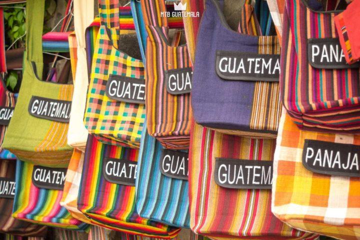 Colorful bags on display at the market. Lake Atitlán Solola, Guatemala