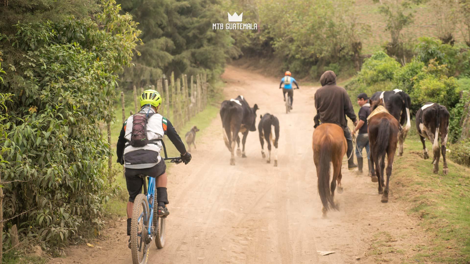 Road traffic in rural Guatemala. Valle Escondido Adventure MTB Tour  Chimaltenango, Guatemala