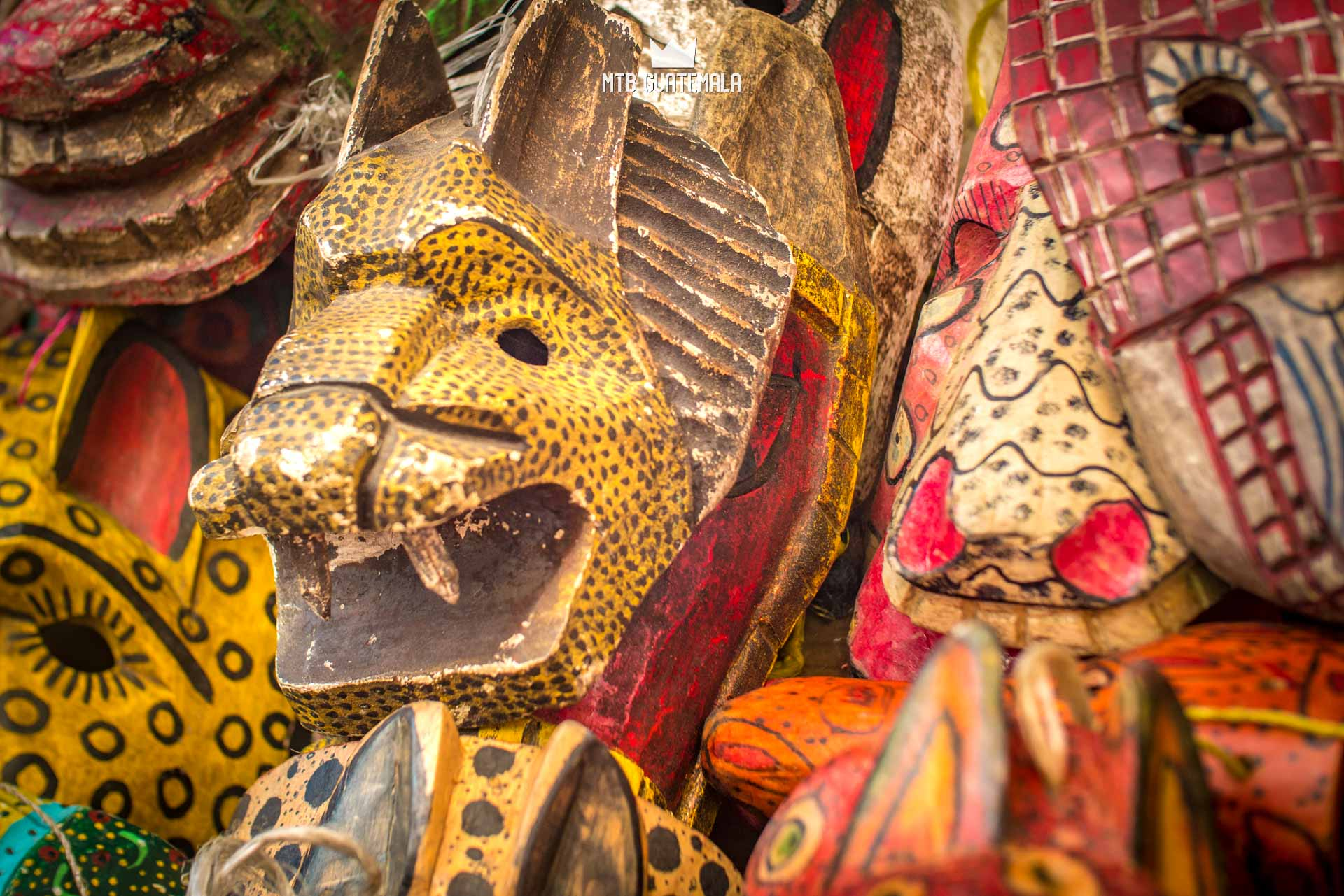 Traditional Mayan masks for sale at the Chichicastenango market.