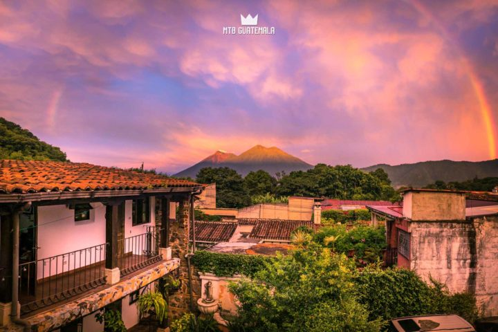 Waking up to this sunrise was the highlight of my day. 5am Rainbow - with Volcán Acatenango and Fuego in the morning light. Villa el Prado Sacatepéquez, Guatemala
