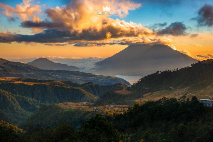 It's sunset season in Guatemala. View from the Panamerican highway above Lake Atitán. Lake Atitlán Chimaltenango, Guatemala