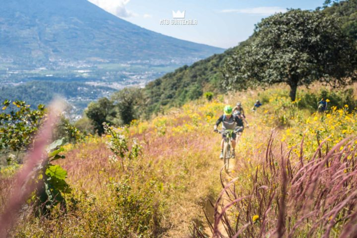 Riding in the colorful fields below Volcán de Augua (3,760 m). Las Tapias Sacatepéquez, Guatemala