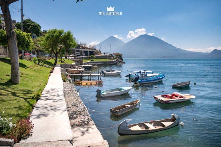 All types of boats moored at the public beach. Lake Atitlán Sololá, Guatemala