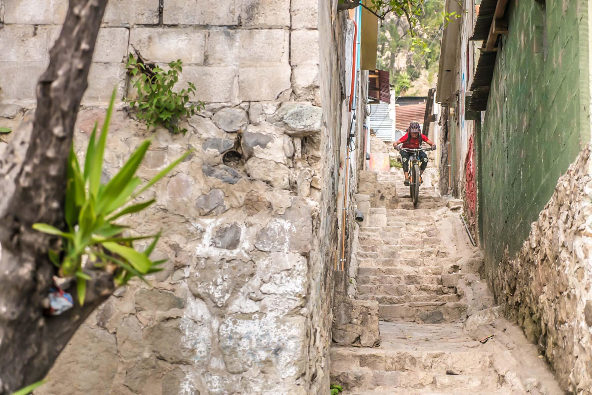 Urban downhill on the tight streets of Santa Catarina Palopó