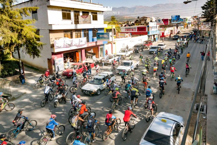 Over 300 riders take over the streets of Huehuetenango for the 9th for the 9th edition of the Travesía de Los Cuchumatanes.  Huehuetenango, Guatemala