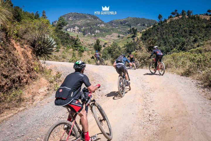Riders make thier way up the 4,000ft climb to the top of the Cuchumatanes mountains.  Huehuetenango, Guatemala
