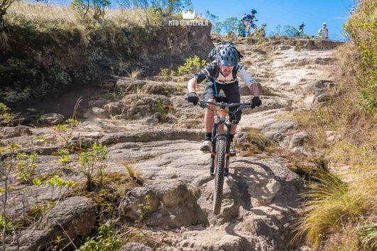 Technical downhills on the Atitlán slickrock trail. Lake Atitlán Chimaltenango, Guatemala
