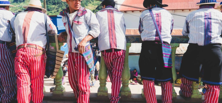 Traditional clothes of the men of Todos Santos Los Cuchumatánes , Guatemala