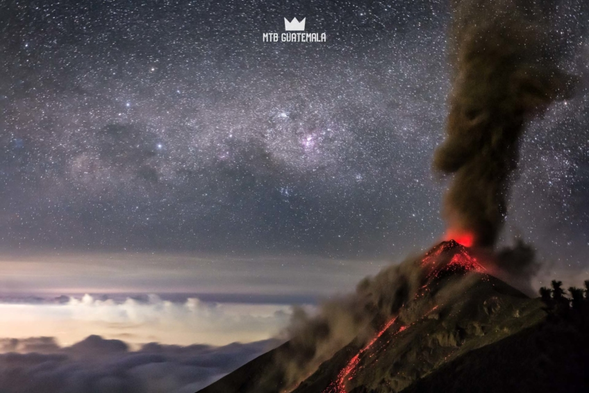 Frequent erruptions of Volcán de Fuego kept us up through the night. The lava silhouetted agains the milky way at 2am was stunning. Volcán Acatenango 3976m Chimaltenango, Guatemala