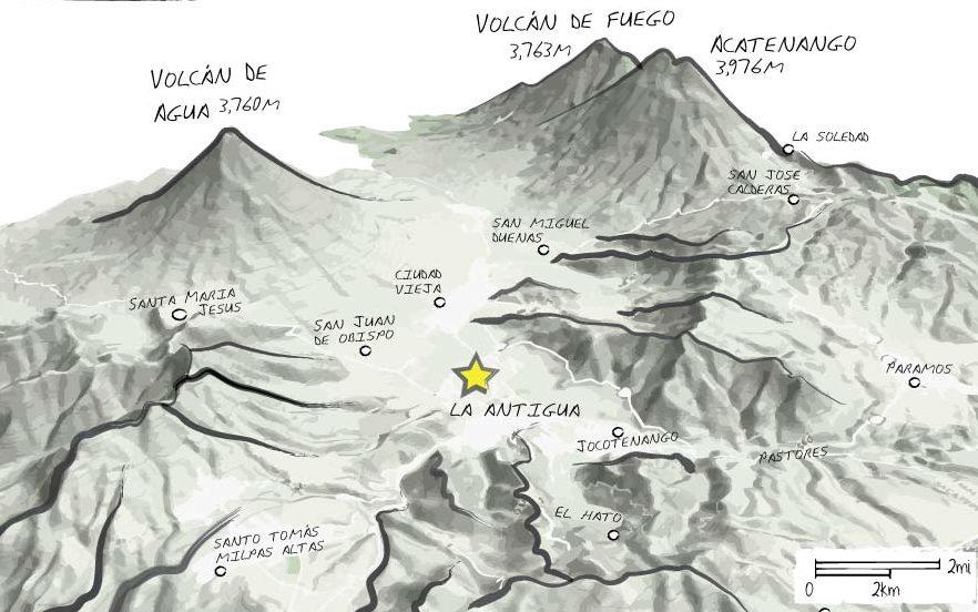 Mountain Biking in Antigua Guatemala Map